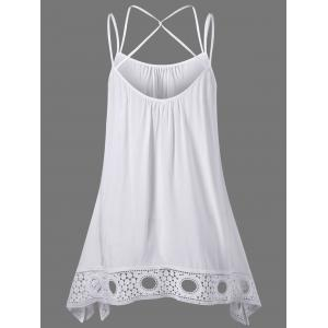 Crochet Trim Criss Cross Asymmetric Tank Top -