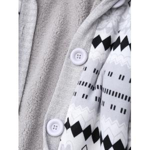 Hooded Button Up Geometric Cardigan -
