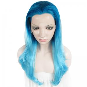 Attractive Blue Gradient Trendy Long Synthetic Shaggy Wavy Lace Front Wig For Women -