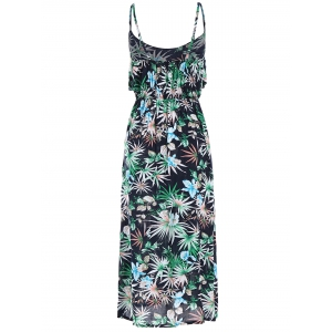 Floral Leaf Print Sleeveless Crop Overlay Dress - MULTI COLOR ONE SIZE(FIT SIZE XS TO M)