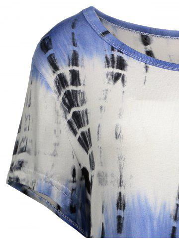 Discount Printed Asymmetric Long Tee - 2XL BLUE VIOLET Mobile