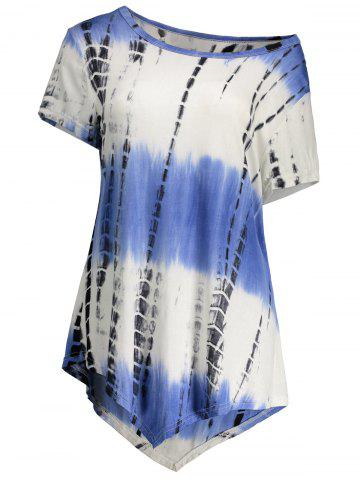Outfit Printed Asymmetric Long Tee - 2XL BLUE VIOLET Mobile