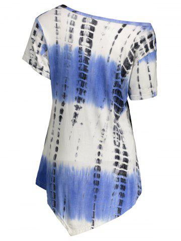 Online Printed Asymmetric Long Tee - 2XL BLUE VIOLET Mobile