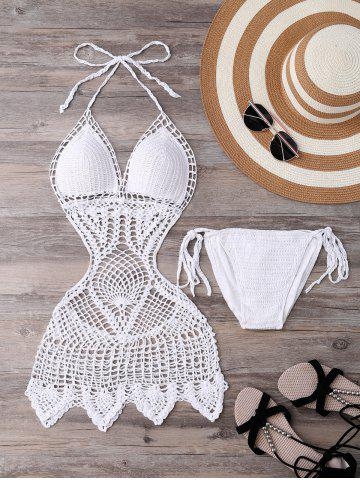 Affordable Halter Hollow Out Knitted Crochet Monokini One-Piece Swimwear