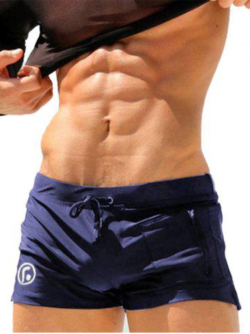 Stretchy Lace Up Zip Up Pocket Swimming Trunks - Royal - L