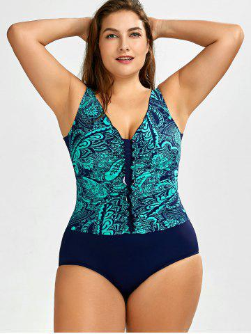 Unique Printed Ruched One-Piece Swimwear LAKE BLUE 5XL