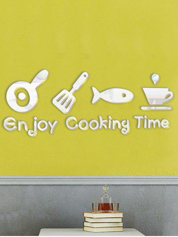 Cabinet Dining Room Metope Adornment Kitchen Mirror Logo Wall Decals - Silver - 18cm*73cm
