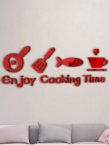 Discount Cabinet Dining Room Metope Adornment Kitchen Mirror Logo Wall Decals RED