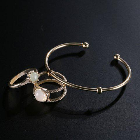 Sale Faux Gem Circle Rings with Bracelet - GOLDEN  Mobile