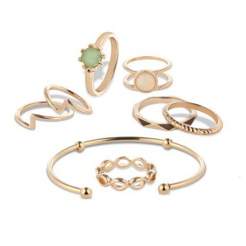 Outfits Faux Gem Circle Rings with Bracelet - GOLDEN  Mobile