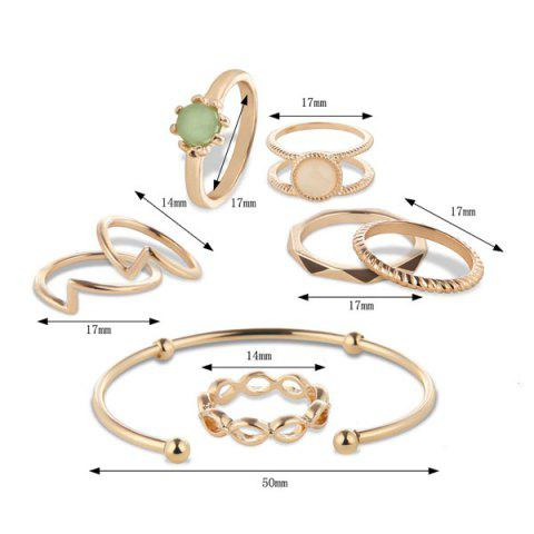 Online Faux Gem Circle Rings with Bracelet - GOLDEN  Mobile