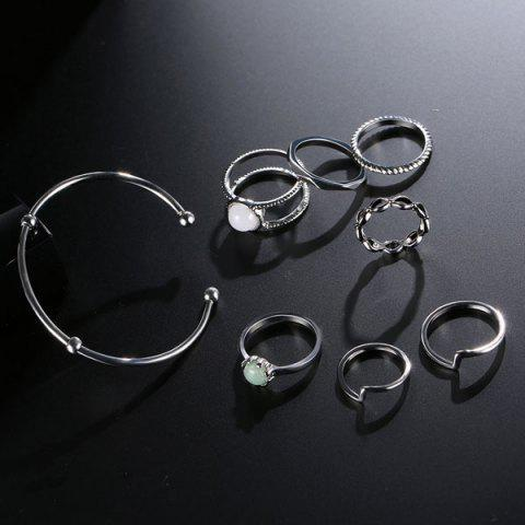 Cheap Faux Gem Circle Rings with Bracelet - SILVER  Mobile