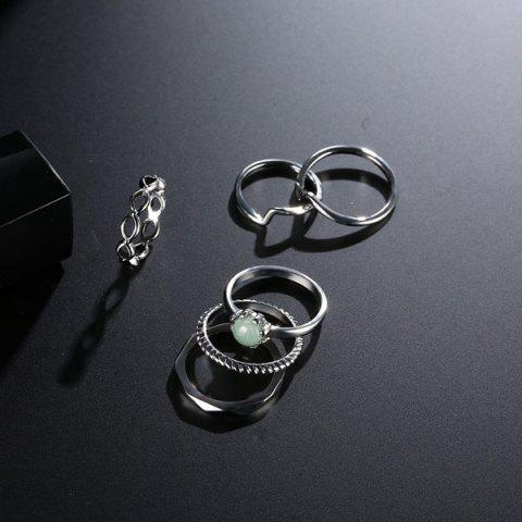 Sale Faux Gem Circle Rings with Bracelet - SILVER  Mobile