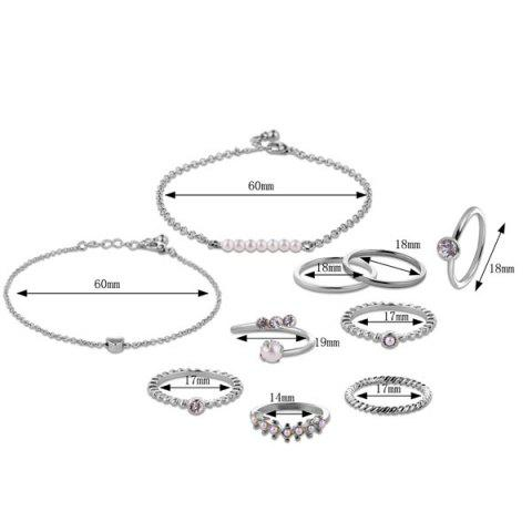 Hot Faux Pearl Circle Rings with Bracelets - SILVER  Mobile