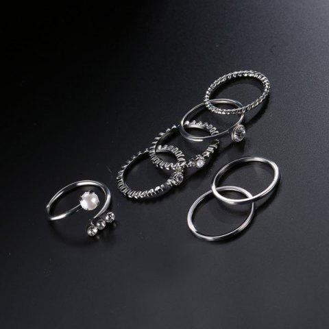 Affordable Faux Pearl Circle Rings with Bracelets - SILVER  Mobile