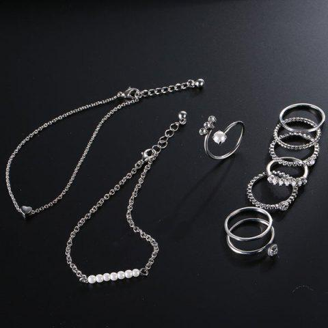 Online Faux Pearl Circle Rings with Bracelets - SILVER  Mobile