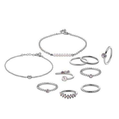 Cheap Faux Pearl Circle Rings with Bracelets - SILVER  Mobile