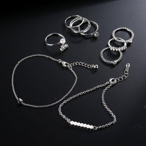 Sale Faux Pearl Circle Rings with Bracelets - SILVER  Mobile