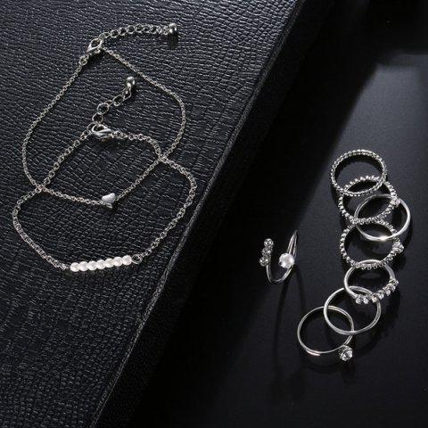 Latest Faux Pearl Circle Rings with Bracelets - SILVER  Mobile