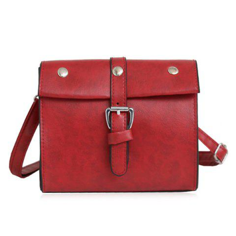 Affordable Faux Leather Buckle Strap Crossbody Bag