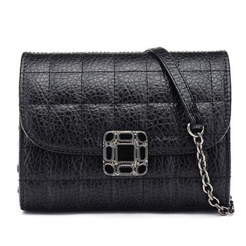 Hot Chains Quilted Cross Body Bag BLACK