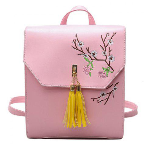 New Flower Embroidery Tassel Backpack PINK