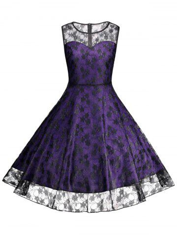 Plus Size Lace Cocktail Formal Party Dress - Purple - 3xl