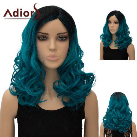 Fancy Adiors Colormix Long Side Part Shaggy Wavy Synthetic Wig - BLUE GREEN  Mobile