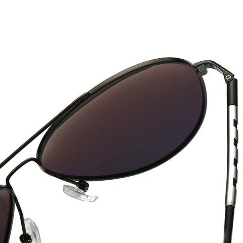 Affordable Mirrored Polarized UV Protection Pilot Sunglasses - BLACK+GREY  Mobile