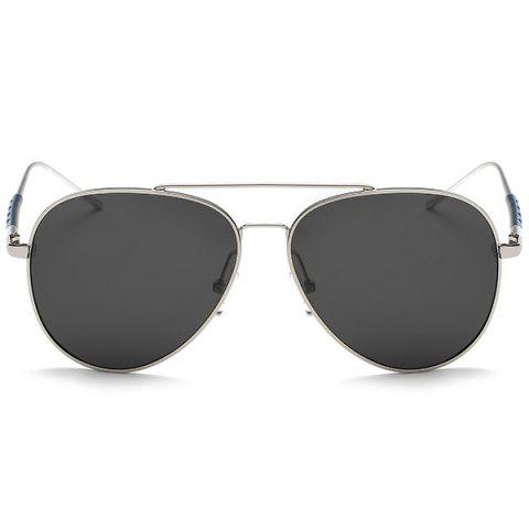Online Mirrored Polarized UV Protection Pilot Sunglasses - SILVER FRAME + GREY LENS  Mobile