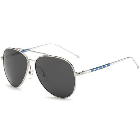 Outfit Mirrored Polarized UV Protection Pilot Sunglasses - SILVER FRAME + GREY LENS  Mobile