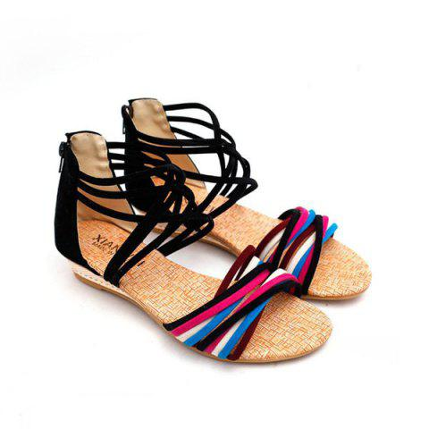 Shop Cross Straps Color Block Sandals - 39 BLACK Mobile