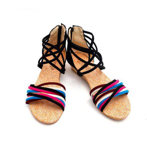 Cheap Cross Straps Color Block Sandals - 39 BLACK Mobile