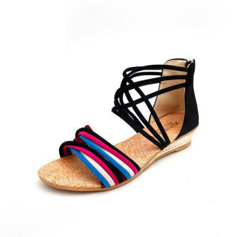 Outfits Cross Straps Color Block Sandals - 39 BLACK Mobile