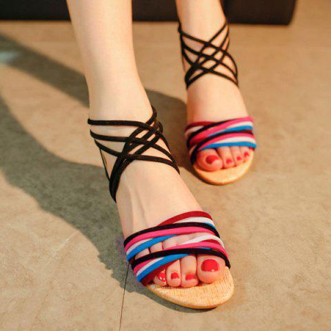 Unique Cross Straps Color Block Sandals - 39 BLACK Mobile