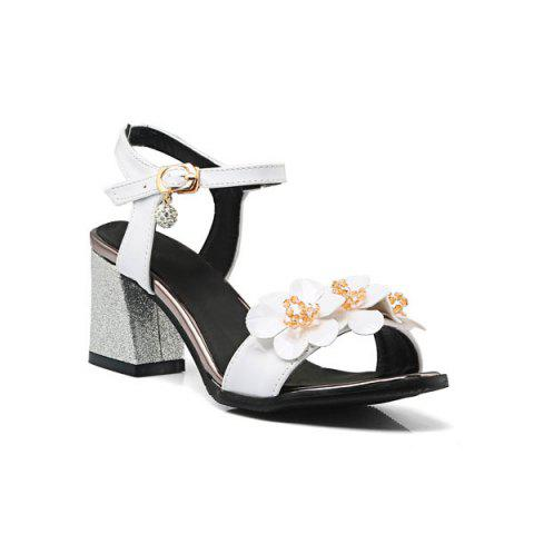 Buy Flowers Patent Leather Sandals - White 39