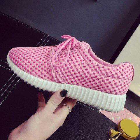 Sale Breathable Mesh Athletic Shoes - 38 PINK Mobile