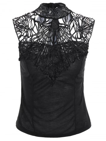 New High Neck Lace Back Sleeveless Top BLACK ONE SIZE
