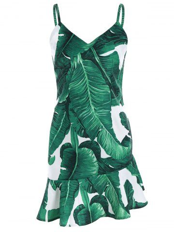 Fancy Palm Leaf Print Drop Waist Slip Dress GREEN L