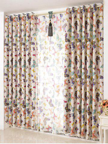 New Butterfly Print Window Screens Blackout Curtain(Without Tulle)
