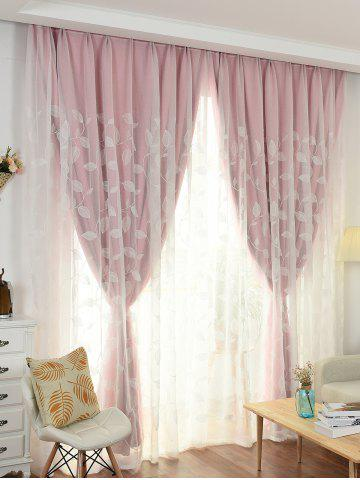 Discount Princess Style Double Layers Curtains For Girl Bedroom - W42INCH*L63INCH PINK Mobile