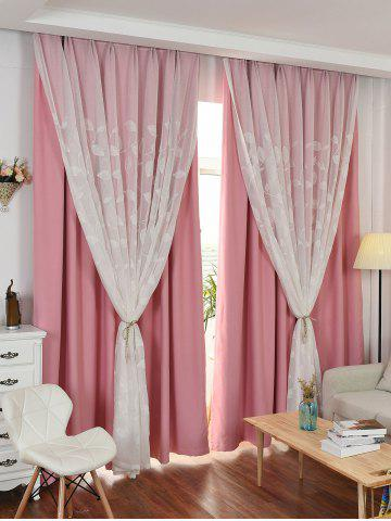 Online Princess Style Double Layers Curtains For Girl Bedroom - W42INCH*L63INCH PINK Mobile