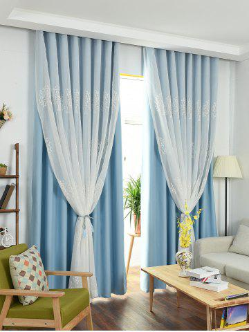 Sale Window Screen 1Pcs 2 Layers Princess Curtain - W42INCH*L63INCH ICE BLUE Mobile