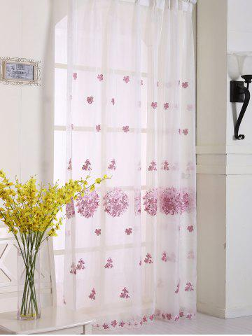 Fancy Princess Hydrangea Print Sheer Voile Curtain - W54 INCH * L108 INCH PINK Mobile
