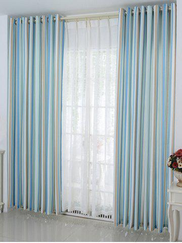 Discount Stripe Blackout Curtain Window Shading Decor(Without Tulle) - W54 INCH * L95 INCH ICE BLUE Mobile