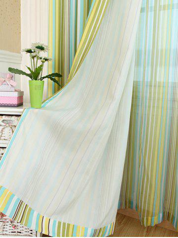 Chic Stripe Blackout Curtain Window Shading Decor(Without Tulle) - W42INCH*L63INCH YELLOW Mobile