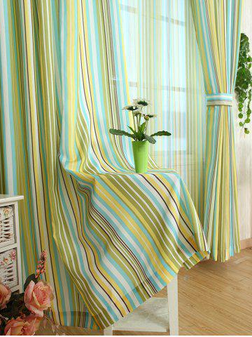 Outfit Stripe Blackout Curtain Window Shading Decor(Without Tulle) - W42INCH*L63INCH YELLOW Mobile