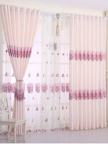 Best 1PCS Hydrangea Print Shade Blackout Curtain ( Without Tulle )