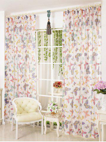 Fashion Pastoral Butterfly Sheer Voile Window Curtain COLORMIX W54 INCH * L95 INCH