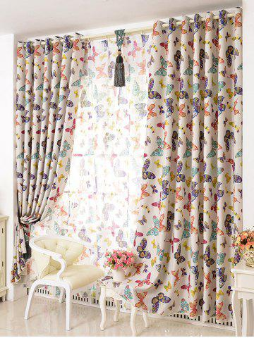 Outfits Pastoral Butterfly Sheer Voile Window Curtain - W54INCH*L108INCH COLORMIX Mobile